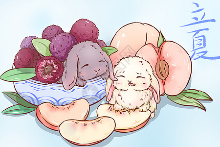 立夏 杨梅与水蜜桃图片