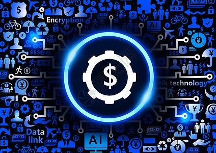 货币加密设置金融科技背景图片