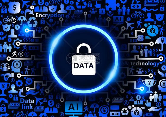 DATA数据安全金融科技背景图片