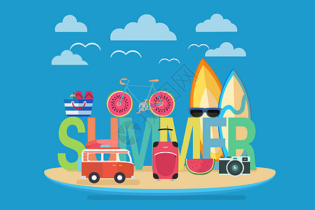 夏日旅游插画图片