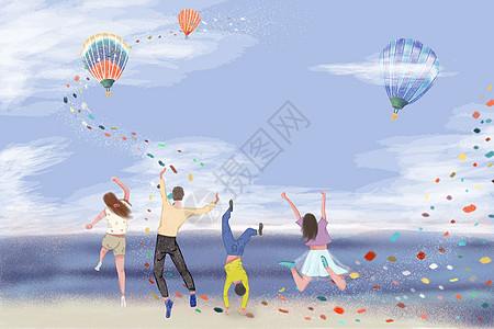 五四青年节彩色插画图片