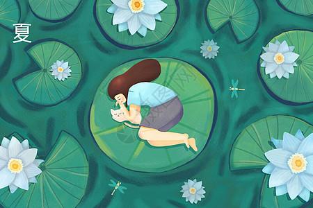 睡在荷叶上的小女孩图片