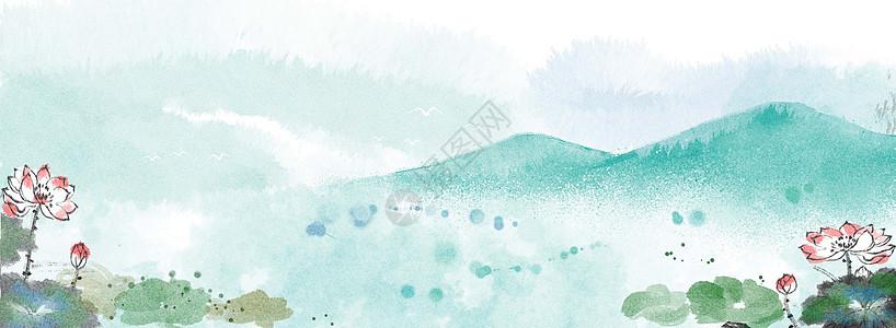 荷花池塘水墨背景图片