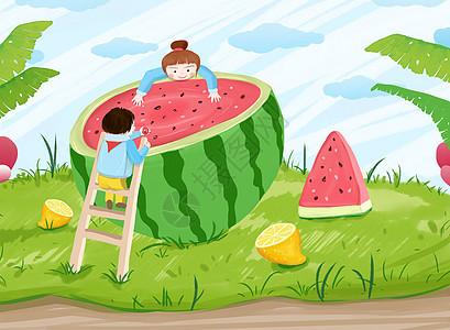 有西瓜的夏天图片