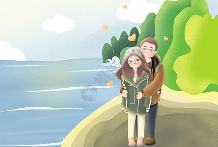 情侣插画图片