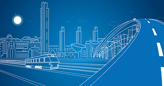 城市桥梁线条图片