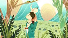父亲节父子探索大自然插画图片