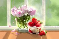 花卉与冰淇淋图片