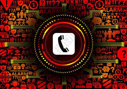 电话预警科技互联背景图片