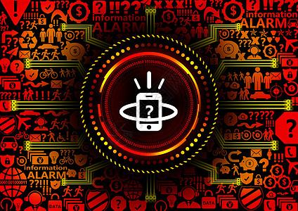 移动手机智能预警科技背景图片