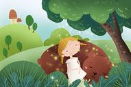 树下睡觉的小女孩和熊图片
