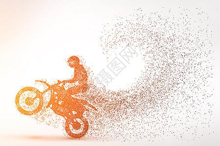 摩托车比赛粒子剪影图片