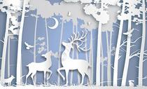 剪纸风森林鹿图片