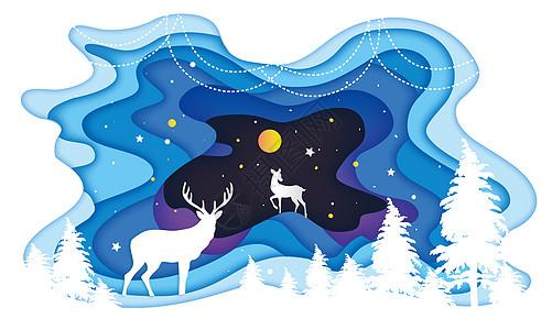 星空森林鹿高清图片