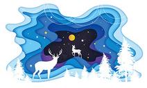 星空森林鹿图片
