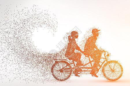 自行车剪影粒子图片