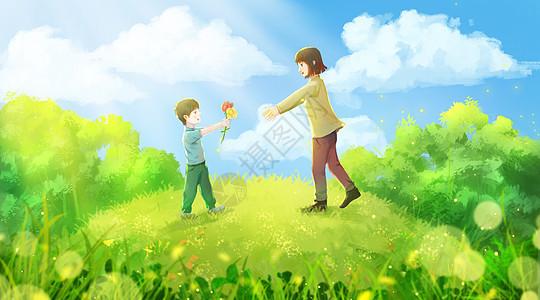 母亲节孩子给妈妈送花图片