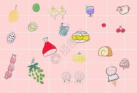 手绘美食壁纸素材图片