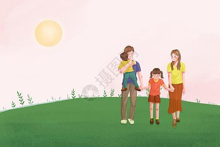 亲子旅游看风景插画图片