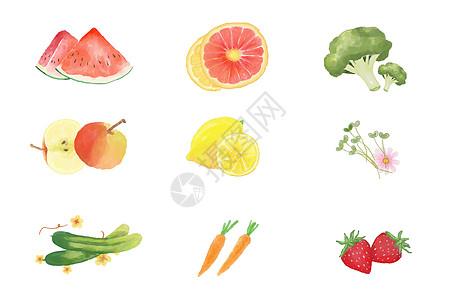 水彩水果蔬菜素材图片