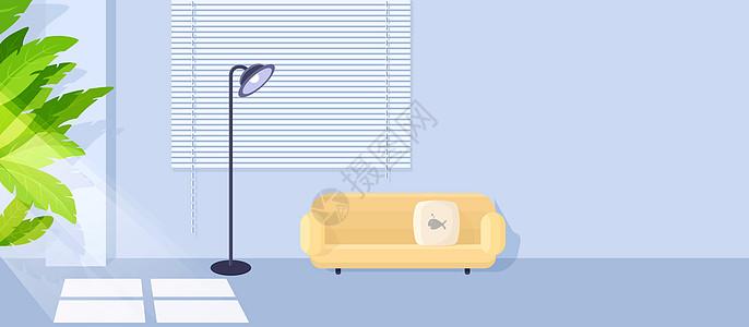 清亮室内扁平插画图片