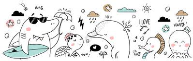手绘欧式线条动物图片