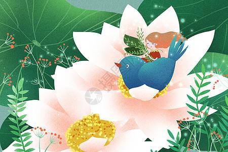 花朵里的小鸟和女孩图片