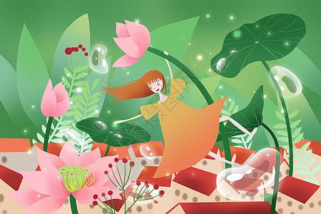 清新夏季插画图片