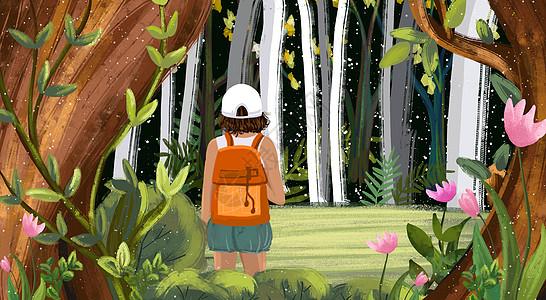 丛林探险的女孩儿图片