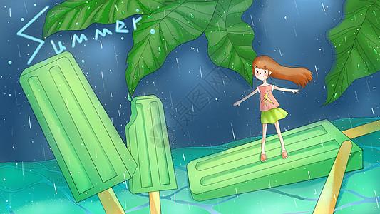 立夏夏天夏至冰棒女孩插画图片