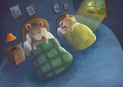 儿童插画夜晚小老鼠图片