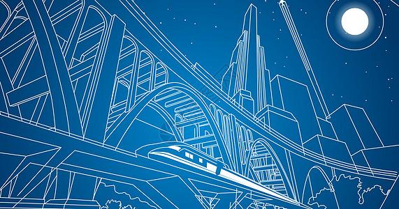 城市都市桥梁线条图片