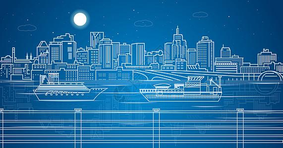 城市湖边线条图片