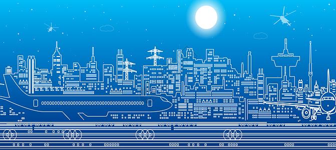 城市飞机场线条图片