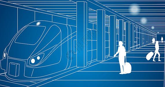 城市乘地铁线条图片