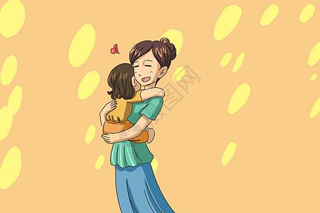 母亲节母子拥抱插画图片