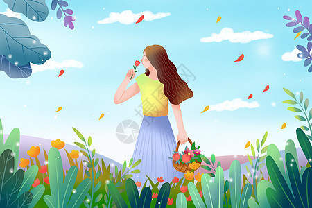 采花的女孩图片