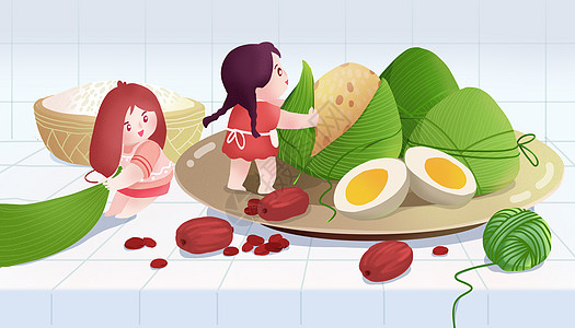 端午节包粽子插画图片