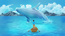 去海边游玩与鲸鱼相遇的少年图片