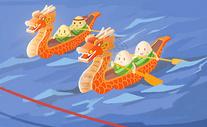 端午节龙舟手绘图片