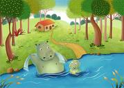 儿童插画洗澡河马图片