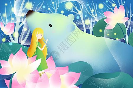 唯美花丛里的白熊少女图片