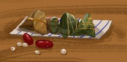 红枣莲子粽子图片