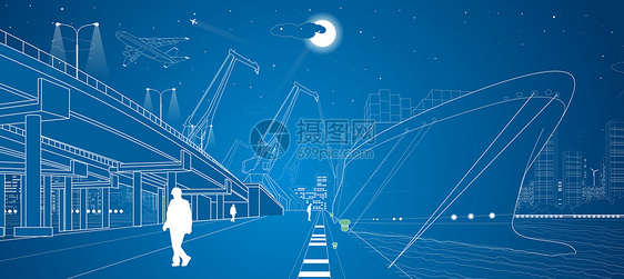 城市港口线条图片