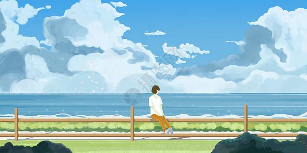 海滩风景女孩图片
