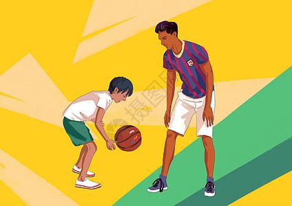 打篮球的父子图片