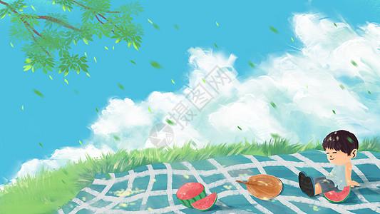 夏天树下乘凉图片
