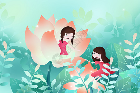 花朵里玩乐的小女孩图片