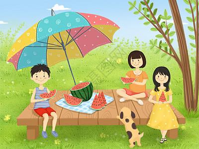 夏日吃西瓜图片