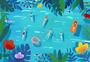 夏日游泳插画图片